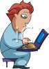 Adolescent Child Using a Laptop Computer clipart