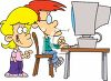 To Kids, a Brother and Sister Using a Computer clipart