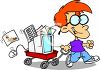 Little Boy Pulling a Wagon with a Computer in It clipart