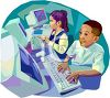 Enthusiastic Little Boy Using a Computer in Computer Lab clipart