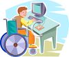 Handicapped Child, a Boy, Using a Desktop PC Computer clipart