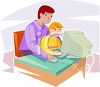 Father Helping Young Son on the Computer clipart