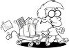 Coloring Page of a Little Nerd Boy with His Computer in a Wagon clipart