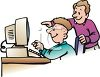 Dad Helping Son on Computer clipart