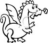 Fire Breathing Dragon Drawn in a Cartoon, Coloring Page Style clipart