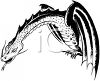 Realistic Drawing of a Dragon in Black-And-White clipart
