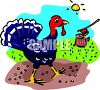 Live Turkey with an Ax in a Tree Stump in the Background clipart