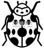Black and white drawing of a ladybug clipart