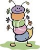 Cute little cartoon bug, a Caterpillar waiving its many arms and friendship clipart