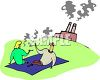Romantic couple having a picnic on a lawn with a factory in the background clipart