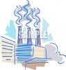 Industrial pollution coming from the smokestacks of a factory clipart