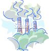 Smoke and pollution coming from the smokestacks of a factory clipart