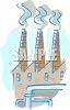 Chimneys or smokestacks of a factory emitting pollution and smoke clipart