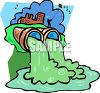 Water pollution from a factory and industry pours out of pipes and into a river clipart