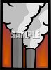 Smokestacks emitting steam or pollution from a factory clipart
