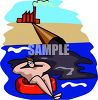 A person is enjoying the water while a factory dumps pollution into it clipart