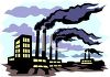 Dreary scene of a factory spewing pollution into the air clipart