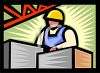 Man working at a factory job clipart