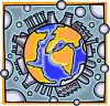 Industrial factories covering the globe clipart