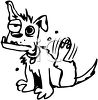 Sad looking cartoon dog scratching his fleas clipart