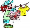 Person putting wet laundry on a clothes line clipart