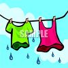 Clothes hanging on a clothes line dripping wet clipart