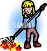 Girl raking up leaves with a rake clipart