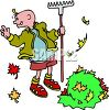 Kid raking leaves in autumn clipart