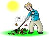 Man raking leaves in the fall or autumn clipart