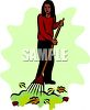 Woman or girl raking leaves clipart