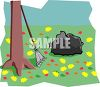 Rake and bag of autumn leaves with more leaves having fallen on the lawn clipart