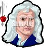 Sir Isaac Newton and a falling apple represent the discovery of gravity clipart