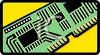 A plug-in circuit board or RAM chip clipart