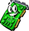 Smiling cartoon circuit board for a PC computer � video card clipart
