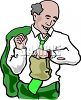 Balding old man looking at his wristwatch clipart