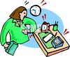 Busy working woman at her desk looking at the time on her wristwatch clipart