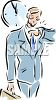 Well-dressed businessman looking at his watch so as not to be late for an appointment clipart