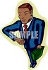African-American executive businessman holding briefcase and looking at his wristwatch clipart