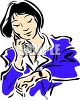 Busy woman checking her watch and talking on the phone clipart