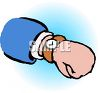 Cartoon drawing of a watch or wristwatch on a person's wrist clipart