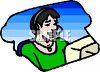Female operator providing customer service or customer support over the phone clipart