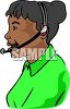 African American woman working as an operator and providing customer service and support clipart