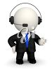 Generic figure wearing a suit and tie and talking into a telephone headset clipart