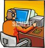 911 operator wearing a telephone headset clipart