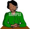 Friendly looking woman working as an operator and providing customer service clipart