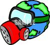 Planet Earth wearing a gas mask to protect against pollution clipart