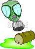A barrel or drum of toxic waste is spilled with a gas mask above clipart