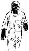 Person wearing a biohazard suit with a gas mask clipart