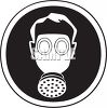 Man wearing a gas mask icon clipart