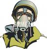 Soldier wearing a gas mask clipart